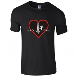 Heartbeat, QRS Complex Wave, Love to Run - Novelty Running T-Shirt