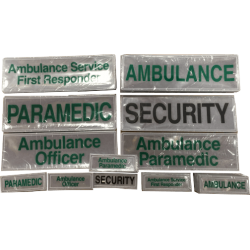 Reflective Slider Badges - Various Sizes and Styles. Paramedic, Responder