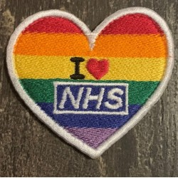 I Love the NHS Heart Shaped Rainbow Velcro Badge 60x60mm